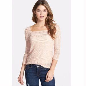 Lucky Brand Peach Lace 3/4 Sleeve Top